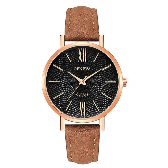 Coconano Relojes Mujer Baratos, Reloj de Pulsera de Cuarzo Analógico Casual de Cuero Militar de Moda Relojes Comerciales: Amazon.es: Ropa y accesorios