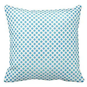 Blue and White Polka Dots Design Throw Pillow Cover Case Decorative Square for Home Sofa 18X18 Inches Two Sides