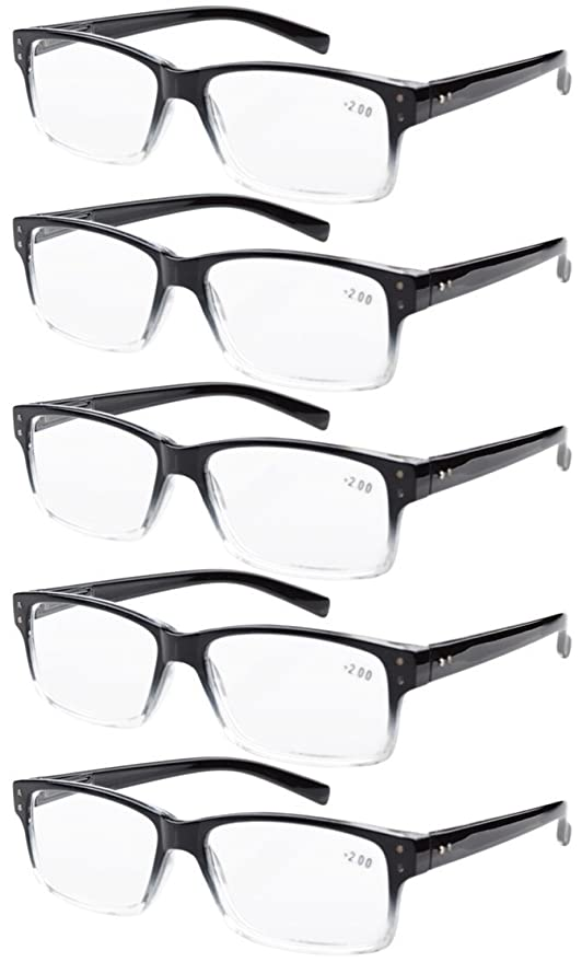 Eyekepper 5 paquetes de bisagra con muelle Vintage Gafas de Lectura (Negro/Claro,+1.75)