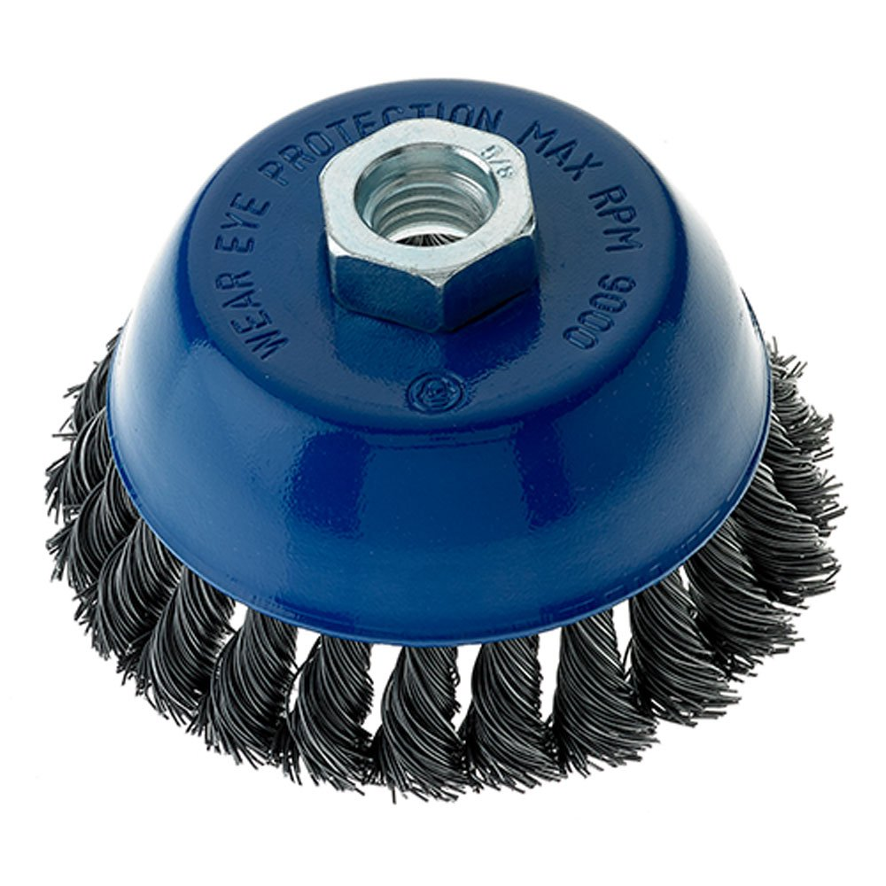 Mercer Industries 189060 Knot Cup Brush, 4' x 5/8'-11, For Angle Grinders, Stainless Steel