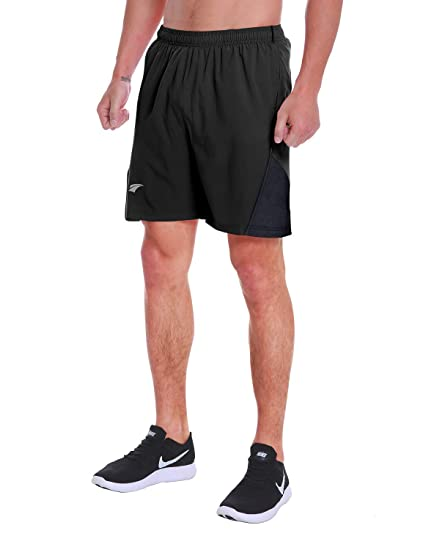 "5d3d3e02a4 EZRUN Men's 7"" Quick Dry Running Shorts Workout Sport Fitness Short  with Liner Zip Pocket"