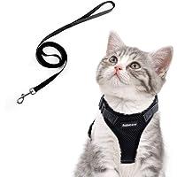 rabbitgoo Katzengeschirr mit Leine Softgeschirr für Katze Brustgeschirr Cat Harness Katzengarnitur ausbruchsicher verstellbar Katzenweste Rot Schwarz S XS