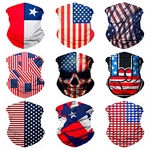 Sojourner 9PCS Seamless Bandanas Face Mask Headband Scarf Headwrap Neckwarmer & More – 12-in-1 Multifunctional for Music Festivals, Raves, Riding, Outdoors (USA ()