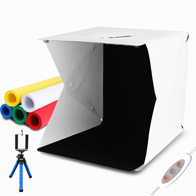 LAMZIX Portable Photo Studio,9.8'' x 9.3'' x 8.7'' Adjustable Brightness Photography Studio Box Shooting Tent Mini Folding Table Top LED Light Box Kit with 6 Color Background and 40pcs led by LAMZIX