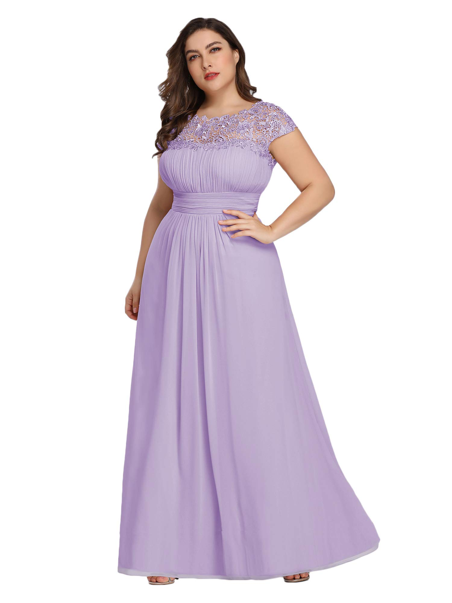Alisapan Womens Elegant Plus Size Evening Bridesmaid Wedding Dresses for  Guests Lavender US 20