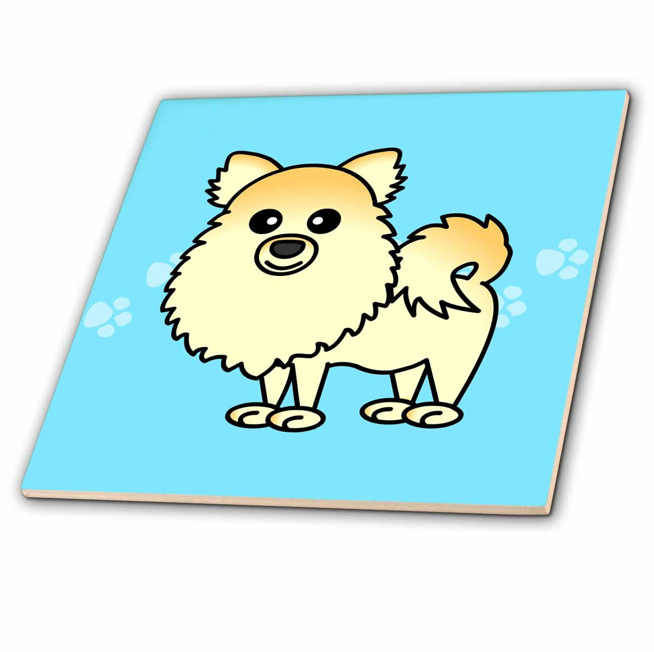 6-Inch 3dRose ct/_10824/_2 Cute Cream Pomeranian Blue with Paw Prints Ceramic Tile
