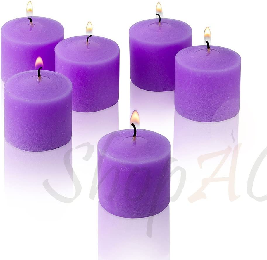 Lavender Scented Candles - Set of 12 Scented Votive Candles - 10 Hour Burn Time - Made in The USA