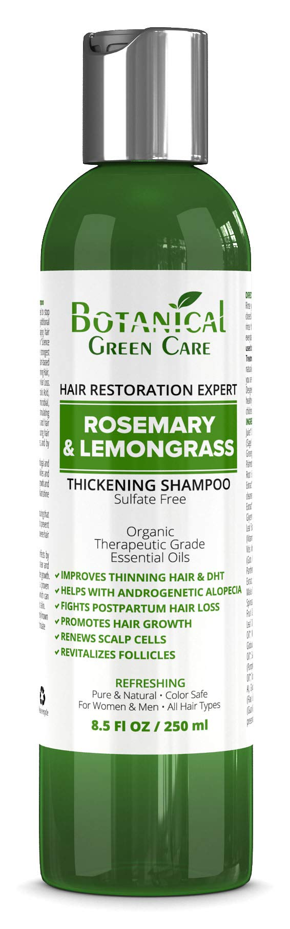 Hair Growth/Anti-Hair Loss Sulfate-Free Shampoo''Rosemary & Lemongrass''. Alopecia Prevention and DHT Blocker. Doctor Developed. NEW 2018 FORMULA! by Botanical Green Care
