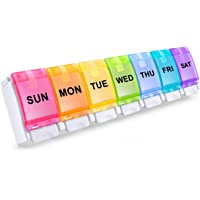 BUG HULL Pill Organizer, Easy to Open Weekly Pill Box, 7 Day Pill Case Pop Open for Vitamins, Fish Oils, Supplements