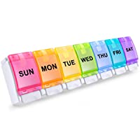 BUG HULL Pill Organizer, Easy to Open Weekly Pill Box, 7 Day Pill Case Pop Open...