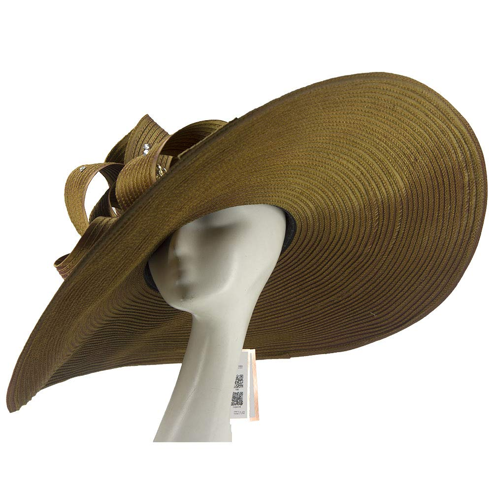 Brown2 Kueeni Women Hats Church Hats For Wedding Mother Of Bride Hats Silver