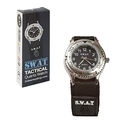 Niños Reloj analógico para niño Silberne Reloj de Pulsera Reloj de Cuarzo Infantil con batería SWAT Nadadores Aventura Reloj para Juguetes Set Policía ...