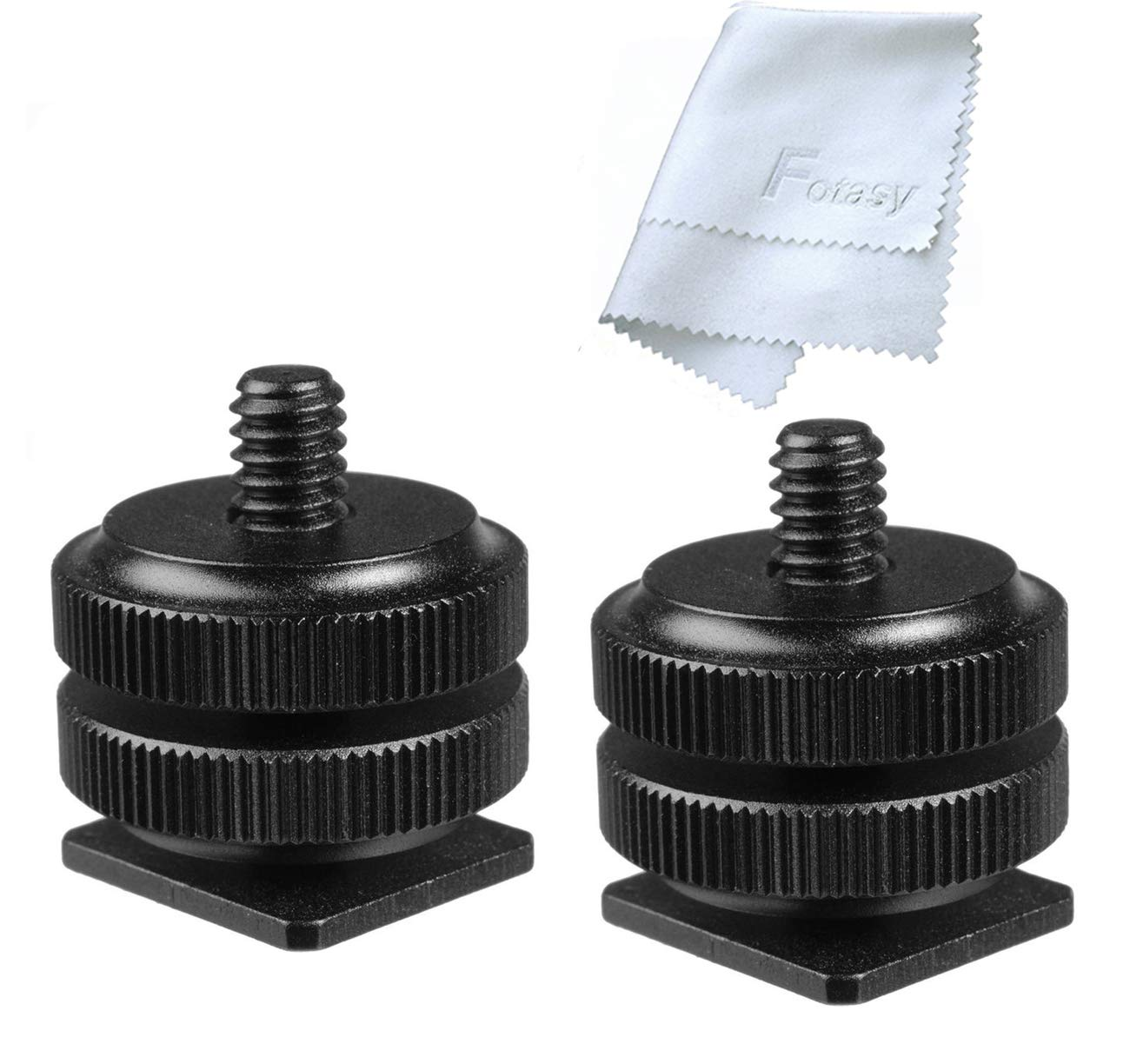 Fotasy Hot Shoe to 1/4''-20 Male Post Adapter with Locking Disk (2 Packs)
