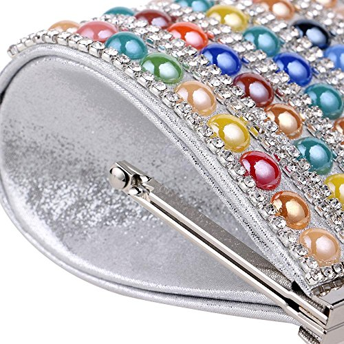 One PLYY Silver Color Lady Evening Beaded Women Bags Bags Side Rhinestones Purse Candy Chain Messenger Colorful Evening qxACwqg