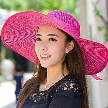 Ktfactory Mujeres del verano sombreros para el sol piscina playa sombrero  de paja pueden plegarse ala ancha rojo  Amazon.es  Deportes y aire libre 0f761d50ede