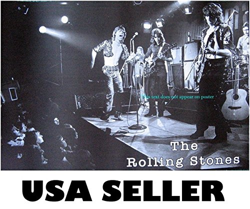 Rolling Stones horiz b&w live POSTER 21 x 14.5 early 70s-ish Mick Jagger Keith Richard (sent FROM USA in PVC - Keith Mick