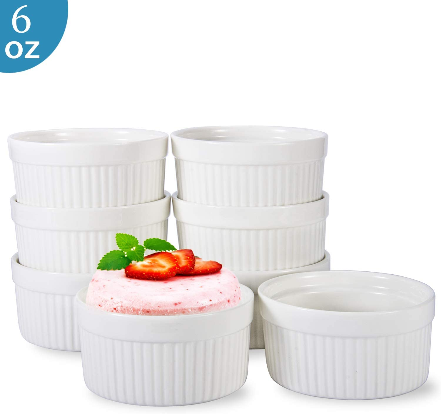 6 OZ Ramekin Bowls 8 PCS,Bakeware Set for Baking and Cooking, Oven Safe Sleek Porcelain White Ramikins for Pudding, Creme Brulee, Custard Cups and Souffle Small instant table tray (6OZ White)