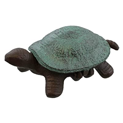 Top Brass Turtle Key Hider Figurine - Cast Iron Garden Statue with Secret Compartment - Indoor/Outdoor : Garden & Outdoor