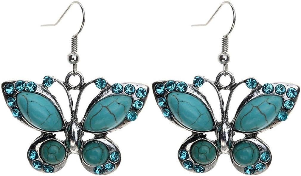 Yazilind pendientes mariposa de diamantes de imitación de cristal fino de plata tibetano de la turquesa de la gota cuelgan los