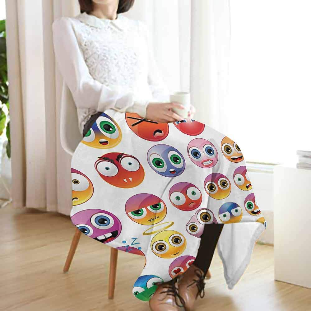 Emoji Couch Blanket,Rainbow Colored Cartoon Like Smiley Face Expressions Sad Happy Angry Fierce Art Print Warm & Hypoallergenic Washable Couch/Bed Throws Microfiber (70''x60'')-Multicolor