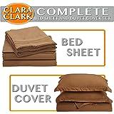 Clara Clark Complete 7 Piece Bed Sheet and Duvet Cover Set, Queen Size, Mocha (Light Brown)