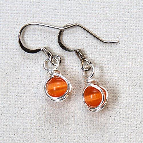 Small Orange Drop Earrings - Handmade Casual Wear Wire Wrapped Jewelry