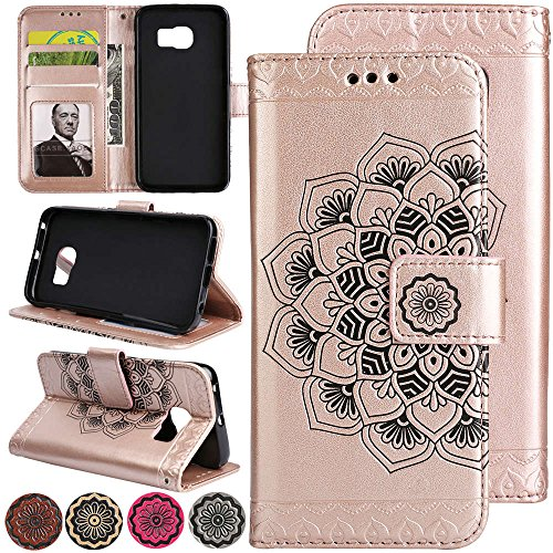 ([Fold Cash Wallet][Wrist Strap][Kickstand for Video] Samsung Galaxy S7 Case, 3D Relief Flower Flip Leather Magnetic Back Cover with Card Holder Pocket for Samsung Galaxy S7 Case Cover (Rosegold))