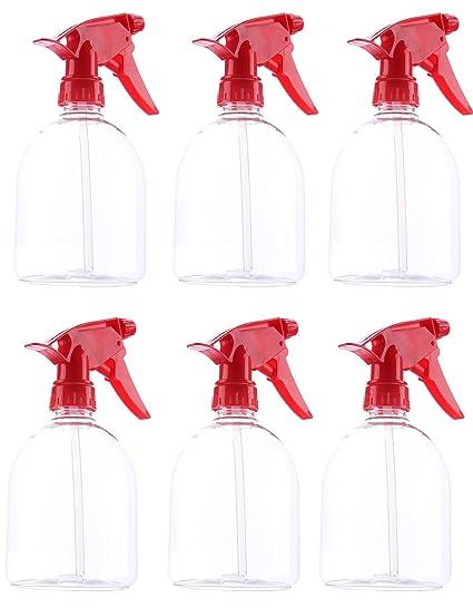 Juvale - Botella de spray de plástico duro, 500 ml, mango rojo, 6