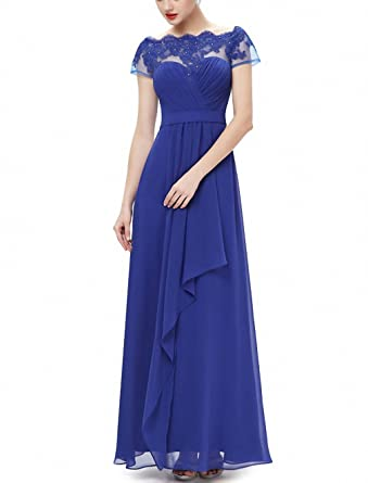 Burgundy Prom Dresses NEW New Arrival Women Boat Neck Royal Blue Lace Red Plus Size Long