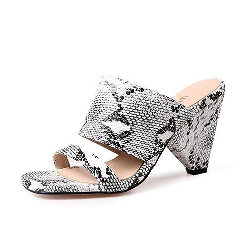 79d56d561c7d0 wetkiss Women's Mules Clogs Shoes Snakeskin Sandals for Women Spike high  Heel Slides Sandal