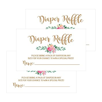25 flower diaper raffle ticket lottery insert cards for gold girl floral baby shower invitations