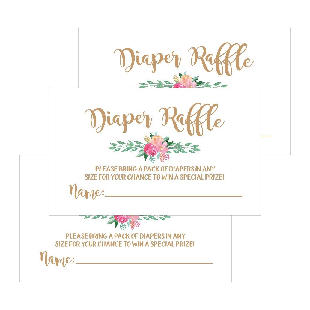25 Flower Diaper Raffle Ticket Lottery Insert Cards for Gold Girl Floral Baby Shower Invitations, Supplies Games for Baby Gender Reveal Party, Bring a Pack of Diapers to Win Favors, Gifts and Prizes