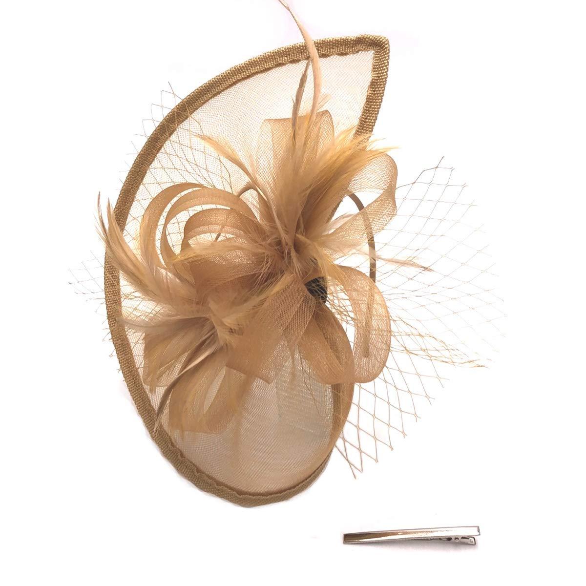 Fascinator Hats for Women Kentucky Derby Headband Headware Hair Clip Cocktail Derby Race Royal Ascot (Gold-GD)