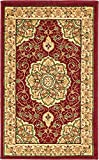 "This Turkish Mashad rug is made of Polypropylene. This rug is easy-to-clean, stain resistant, and does not shed. Colors found in this rug include: Red, Beige, Green, Cream, Light Brown. The primary color is Red. This rug is 1/2"" thick."