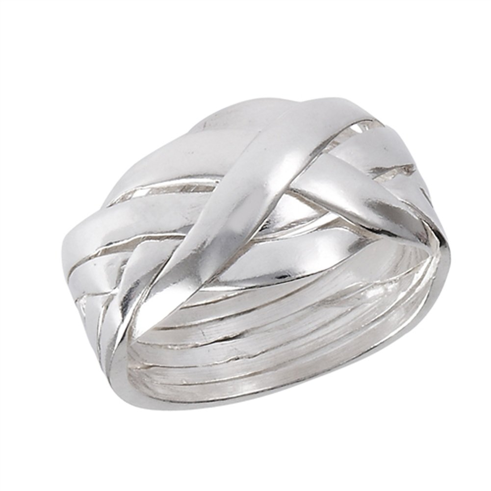Six Piece Hard Puzzle Knot Weave Mesh Ring .925 Sterling Silver Band Size 9