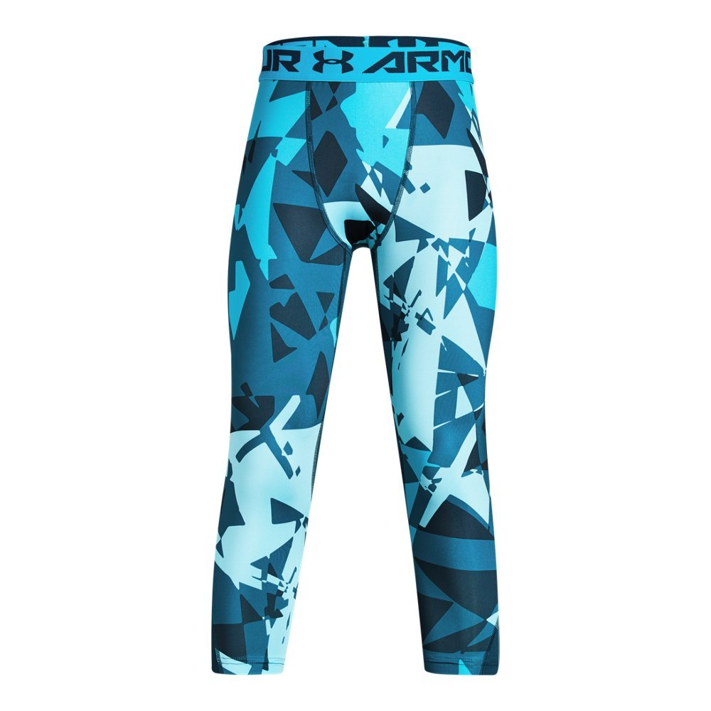 Under Armour Boys' HeatGear Armour ¾ Printed Leggings,Techno Teal (489)/Deceit, Youth Small by Under Armour