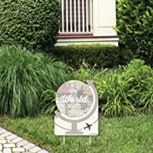 Big Dot of Happiness World Awaits - Outdoor Lawn Sign - Travel Themed Party Yard Sign - 1 Piece