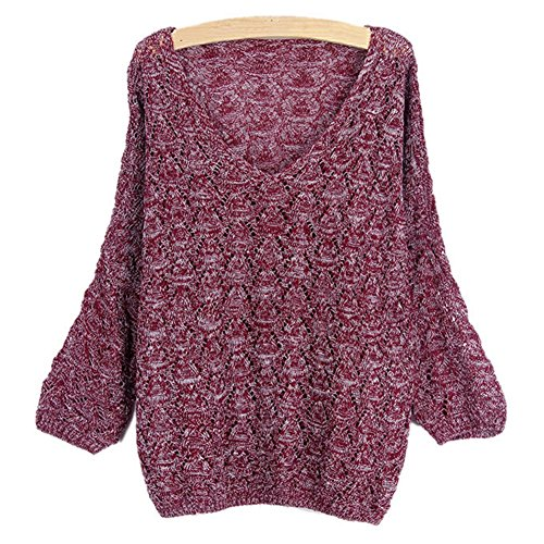 Vin Top rouge V Out Manche en Longue Tricot Pull Baggy Hollow en Chandail Oversize Femmes Tricot Col YOUJIA Sweater qxTnSw1US7