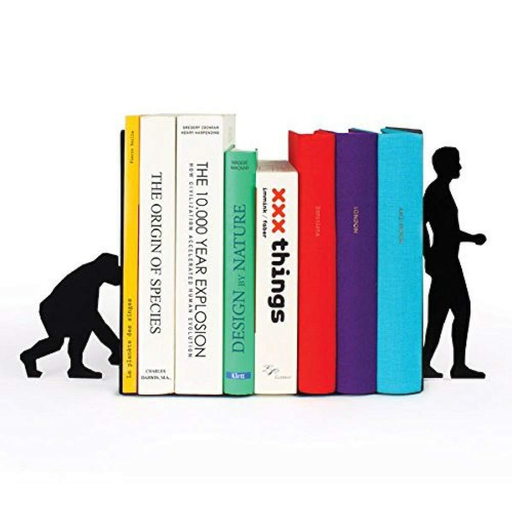 A10SHOP Ares Monkey to Men Evolution Metal Bookends with Non-Skid Base (Black)