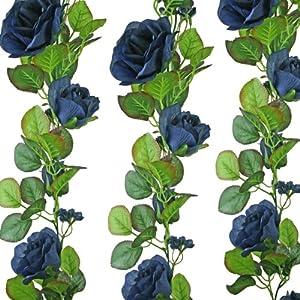 Navy Blue Silk Rose Garland - Wedding Decoration 33