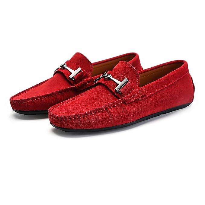 24b0cef6b9 Jingkeke Mocasines de conducción para Hombre de Gamuza de Cuero Genuino  Penny Moccasins Studs Sole con Botones de Metal decoración Zapatos Durable  (Color ...