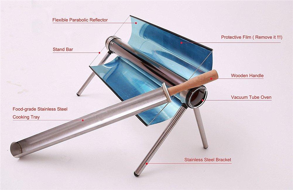 Parrilla Solar De Acero Inoxidable Portátil Protección Del Medio Ambiente Para El Campamento Al Aire Libre De Viaje: Amazon.es: Hogar
