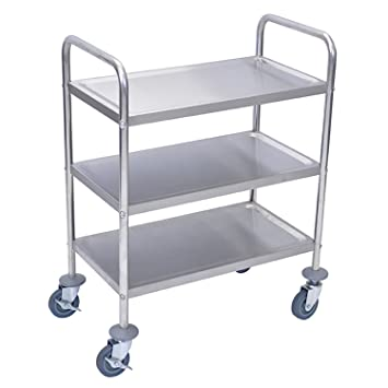 Incroyable LUXOR L100S3 Stainless Steel Cart, 3 Shelves