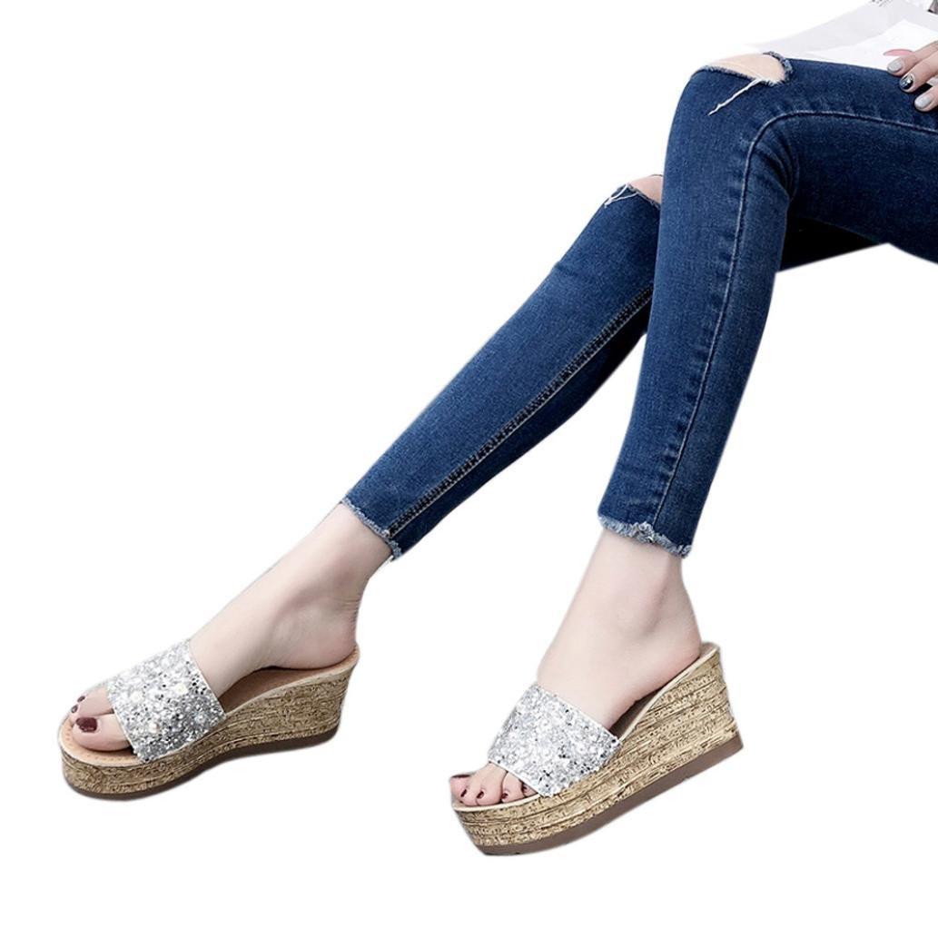 Sikye Summer Glitter Sandal for Women, Womens Platform Shoe Slip On Slippers Party Wedding Wedge Sandal (US:5.5, Silver)