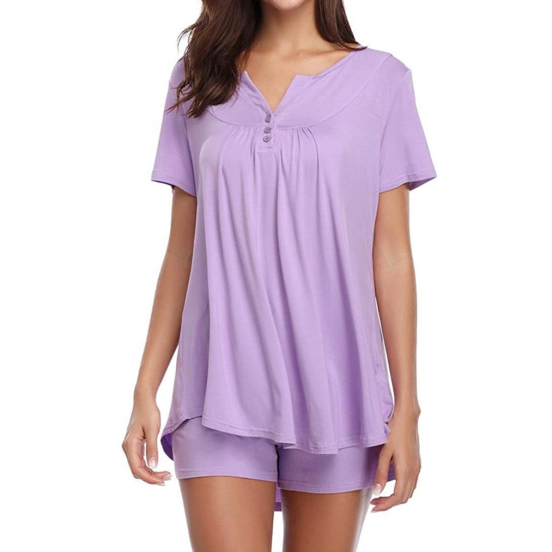 Funic Womens Sleepwear Set Pajama Sets Button up Short Sleeve Top Blouse Tank and Shorts Set