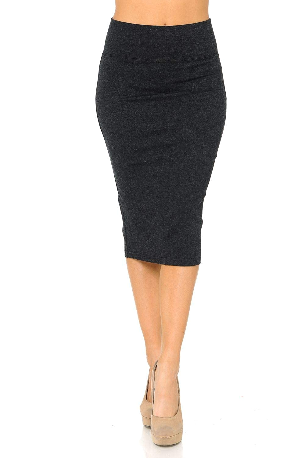 Aulin/é Collection Womens Solid Fitted High Waist Stretch Midi Ponte Pencil Skirt