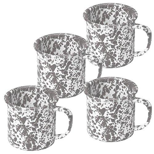 Enamelware Coffee Mugs - Set of 4 - Grey Marble (Dinnerware Set Enamelware)