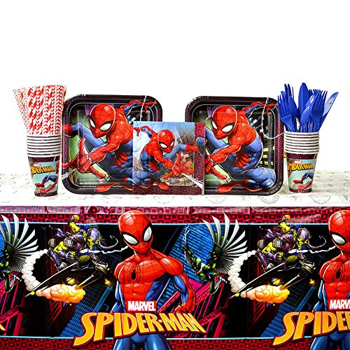 Spiderman Party Supplies Pack for 16 Guests: Straws, Dinner Plates, Luncheon Napkins, Cups, Cutlery and Table Cover (Bundle for 16)