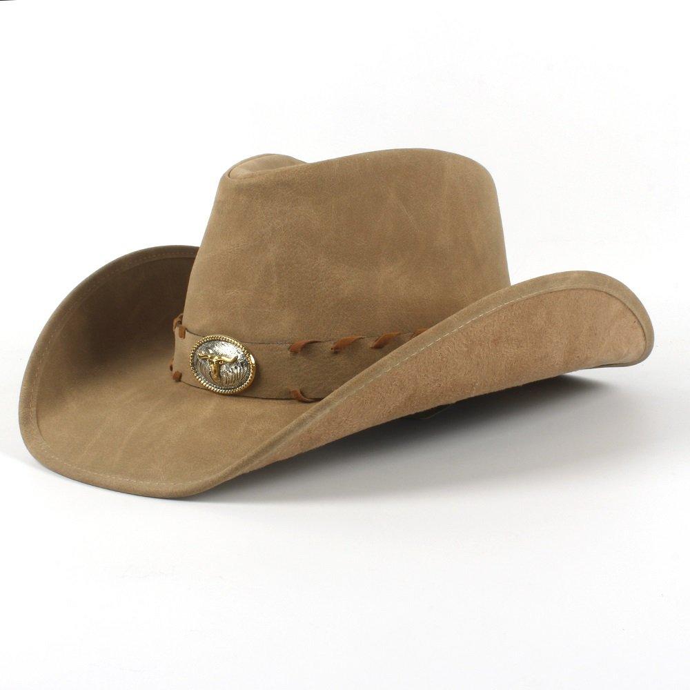 HUBINGRONG Per Uomo Donna Uomo Cappello da Cowboy Occidentale con Cappelli arrotolati Sombrero Hombre (Colore : Khkai, Dimensione : 58-59cm)