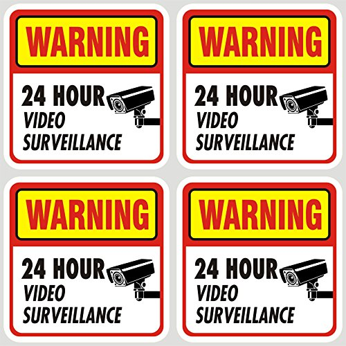 Jancosta 24 Hour Video Surveillance Sticker Decals, Security Warning Sign for Business and Home, Indoor and Outdoor